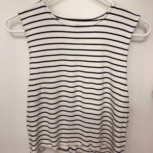 Stripped Fitted Sleeveless Crop Top